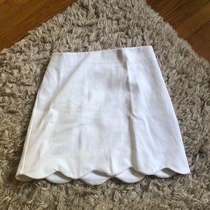 Topshop White Scalloped Skirt